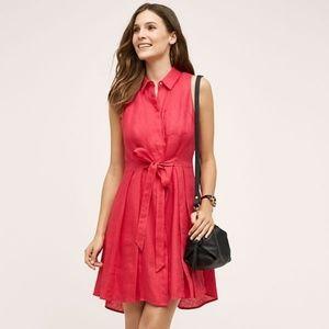 HD In Paris Printemps Linen Pink Tie Mini Dress 0
